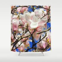 magnolia Shower Curtains featuring  Magnolia. by Assiyam