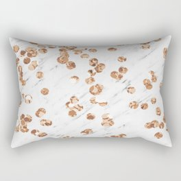 Rose gold crystals - white marble Rectangular Pillow