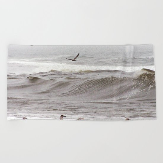 Seagulls and the Surf Beach Towel