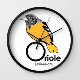 O is for Oriole Wall Clock