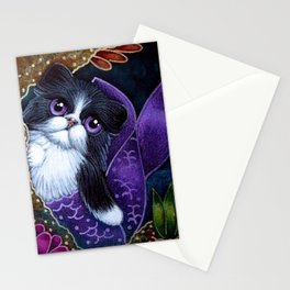 LOVELY TUXEDO PERSIAN MERMAID CAT BY THE REEF Stationery Cards