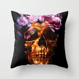 Gold Skull with Flower Crown Throw Pillow