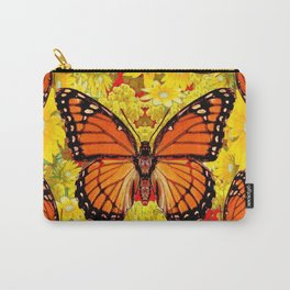 VICEROY BUTTERFLIES & YELLOW FLOWERS RED ART Carry-All Pouch