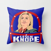 leslie knope Throw Pillows featuring Leslie Knope by SuperEdu