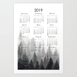 2019 calendar Art Print