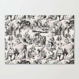 Alice in Wonderland | Toile de Jouy | Black and Beige Canvas Print