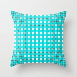 Chequered Grid - Turquoise Throw Pillow