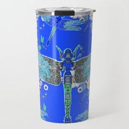 BLUE DRAGONFLIES WHITE DAISY FLOWERS  ART Travel Mug