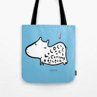 korean Tote Bags featuring korean alphabet hippo by lemonluna