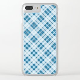 Adorable Light Blue Christmas tartan Clear iPhone Case