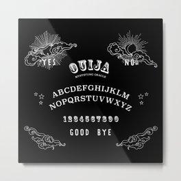Ouija Board White on Black Metal Print