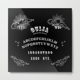 Ouija Board White on Black Metal Print