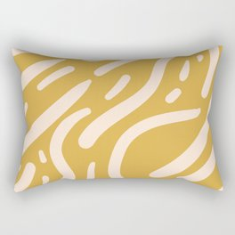 Earthy Mustard Yellow and Light Peach tribal inspired modern pattern Rectangular Pillow