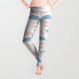Pink and Blue Seal Manatee Silhouette Wave Leggings