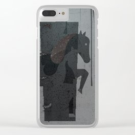 Horses one - bw Clear iPhone Case