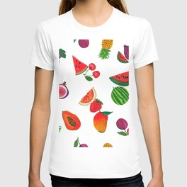 Hand drawn fruity summer time pattern white background T-shirt