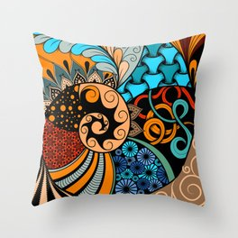 Hand-drawn ethno zentangle pattern, tribal background African sty. Beautiful, africa. Throw Pillow