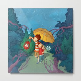 Children On Nocturnal Forest Metal Print