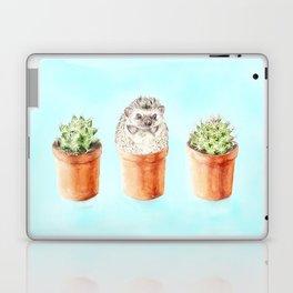 Hedgehog Watercolor Cactus Terra Cotta Pots Laptop & iPad Skin