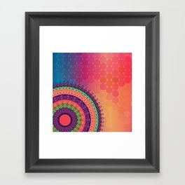 Ethnic Mandala on geometric pattern Framed Art Print
