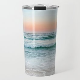 Aqua, Turquoise, Pink, Sunset Ocean Travel Mug