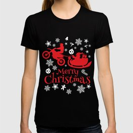Christmas T-Shirt Cute Xmas Gift Funny Dirt Bike Apparel Tee T-shirt