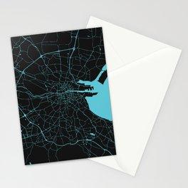 Dublin Ireland Black on Turquoise Street Map Stationery Cards
