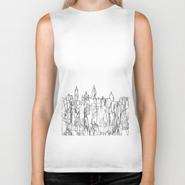 Glasgow, Scotland UK Skyline B&W - Thin Line Biker Tank