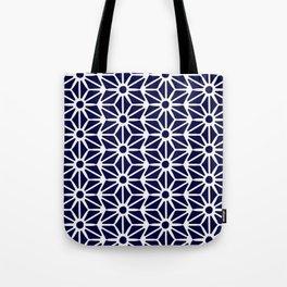 Asanoha Pattern - White on Navy Tote Bag