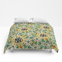 Yellow Violas with Checkers Comforters
