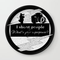 aperture Wall Clocks featuring I Shoot People by LLL Creations