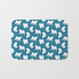 Samoyed Pattern (Blue Background) Bath Mat