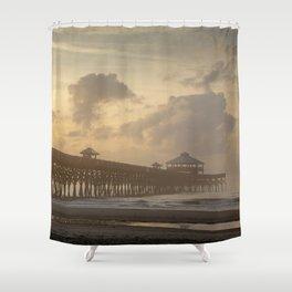 Folly Pier Sunrise & Mist  Shower Curtain