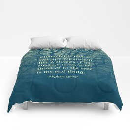 Tree of Character VINTAGE BLUE / Deep thoughts by Abe Lincoln Comforters