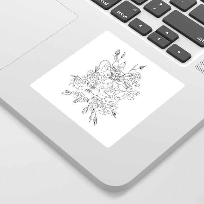 Floral Ink - Black & White Sticker