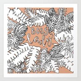 Boss Lady  - Peach Botanical Art Print