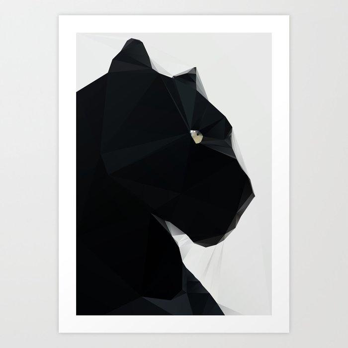 Black Geo Cat 02 Art Print