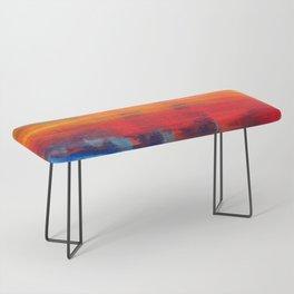 Horizon Blue Orange Red Abstract Art Bench
