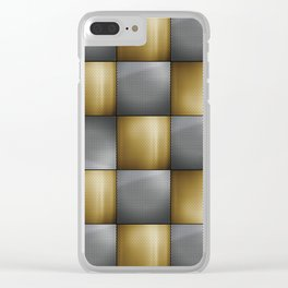Gold Silver Metallic Perforated Metal Checkerboard Pattern Clear iPhone Case