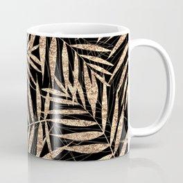 Elegant Gold Tropical Palm Leaves Black Design Coffee Mug