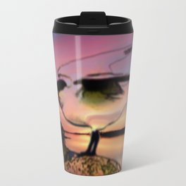 Sunset Take-off - Gull Painted with Sunset Colors Travel Mug