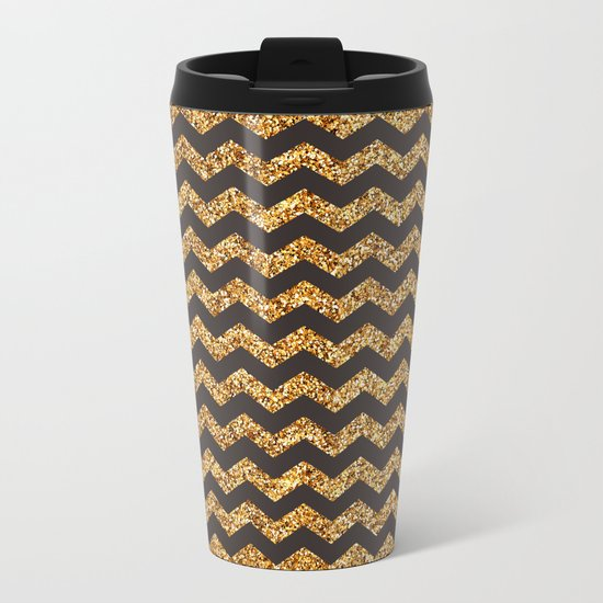 Dark Brown Gold Glitter Chevron Metal Travel Mug