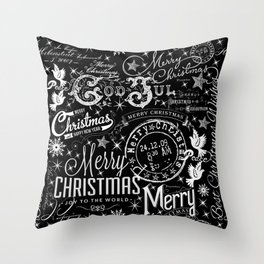 Black and White Christmas Typography Design Throw Pillow