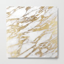 Chic Elegant White and Gold Marble Pattern Metal Print
