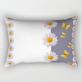 WHITE DAISIES & SPRING BUTTERFLIES & WHITE-GREY ART Rectangular Pillow