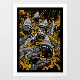 Sharks (Color version) Art Print