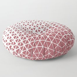 Red and Off White Geometric Triangle Wave Pattern 2021 Color of the Year Passionate & Bohemian Lace Floor Pillow