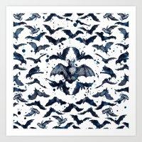 bats Art Prints featuring BATS by DIVIDUS
