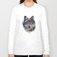 wolf Long Sleeve T-shirts featuring Wolf // Persevere  by Amy Hamilton