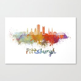 Pittsburgh V2 skyline in watercolor Canvas Print